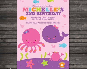 Girl Under the Sea Birthday Invitation Printable - Ocean birthday - Under the Sea Party - Under The Sea First Birthday - Pink and Purple