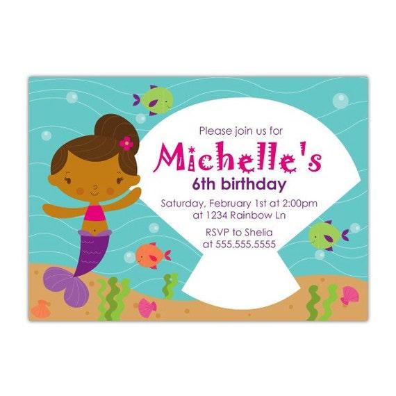 Mermaid Birthday Invitation Printable - African American Mermaid Invitation - Mermaid Party Invitation - Girl Pool Party Invite - Beach
