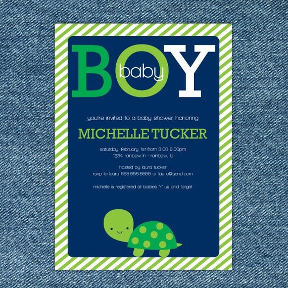 Turtle Baby Shower Invitation Printable - Boy Baby Shower Invite - Navy Blue, Green & White