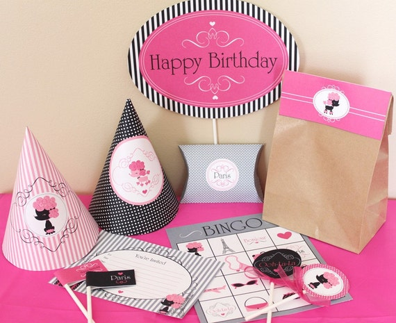 Paris Birthday Party Decorations Printable - Paris Poodle Birthday Decorations - Instant Download - Paris Party Decorations - Paris Decor