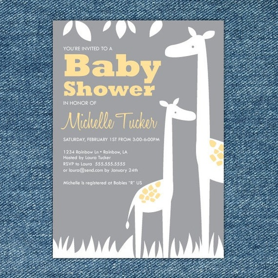 Giraffe Baby Shower Invitation Printable - Yellow and Gray - Giraffe Baby Shower Invites - Giraffe Invitation - Print Your Own - Baby Invite