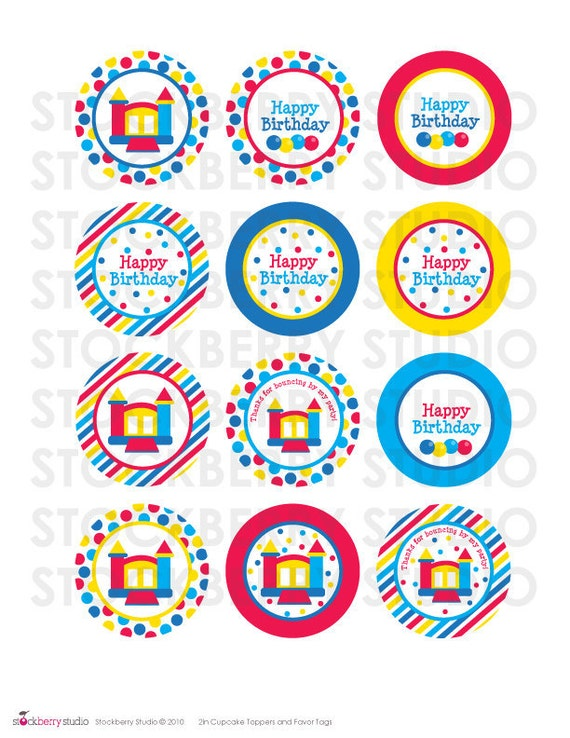 Bounce House Party Favors Printable - 2 inch Bounce House Cupcake Toppers - Bounce House Party - 2 inch Round Labels - Party Stickers