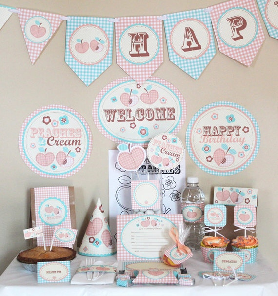 Peach Birthday Party Decorations Printable - Peaches and Cream Birthday Party Kit - Instant Download - Peach and Mint - Peach Invitation