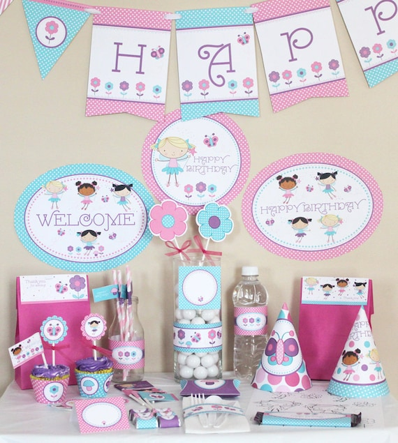 Fairy Birthday Party Decorations Printable - Butterfly birthday Party ...