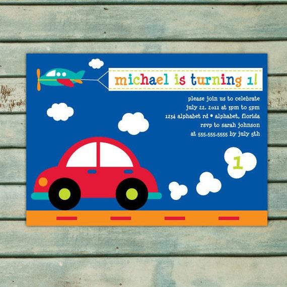 Transportation Birthday Invitation Printable - Boy Birthday Invitation - Car Invitation - Transportation Invitation - Boy 1st Birthday