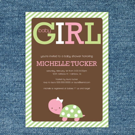items similar to girl turtle baby shower invitations printable, Baby shower invitations
