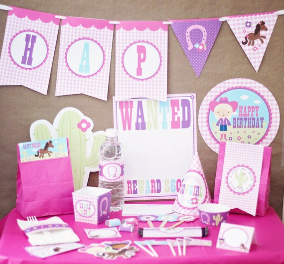 Cowgirl Birthday Party Decorations Printable - Instant Download - Pink Birthday Decorations - Western Birthday Party - Girl 1st Birthday