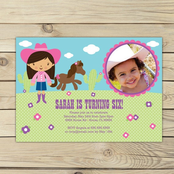 Cowgirl Birthday Invitation Printable - Pink and Purple - Cowgirl Invitation - Cowgirl Invite - Western Birthday - Cowgirl First Birthday