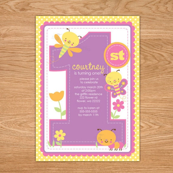 Butterfly 1st Birthday Invitation Printable butterfly first – First Birthday Printable Invitations
