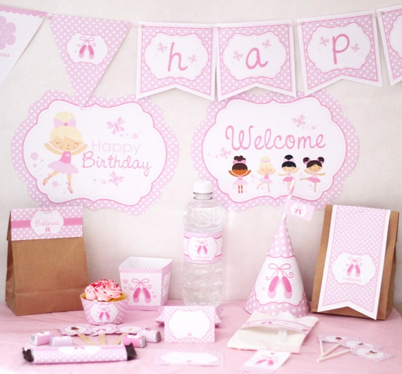 Ballerina birthday party decorations printable party instant for Ballerina party decoration