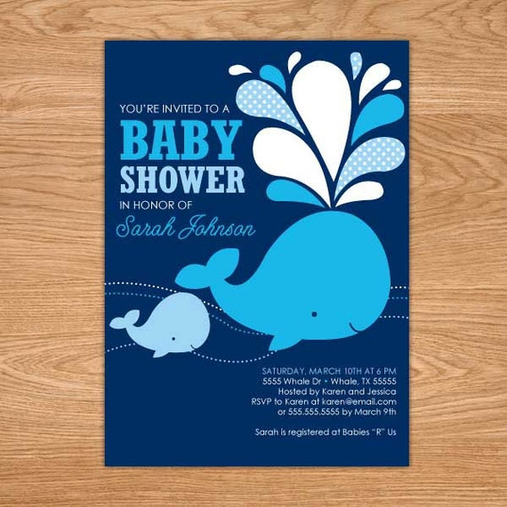 whale baby shower invitation printable baby shower invites navy