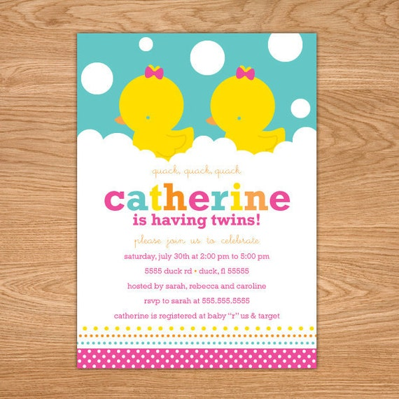 Twin Baby Shower Invitations - Girl Rubber Ducky Baby Shower Invites - twin baby shower invitation - twins baby shower invites