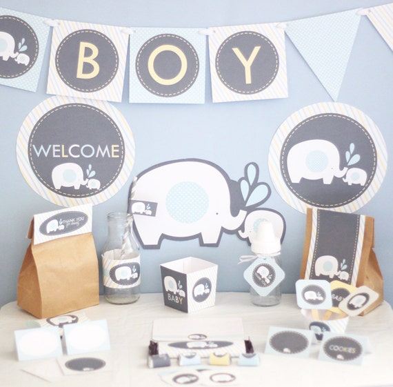 Blue Elephant Baby Shower Decorations Printable - Instant Download - Elephant Party Decor - Boy Baby Shower Decoration - Blue Yellow Gray