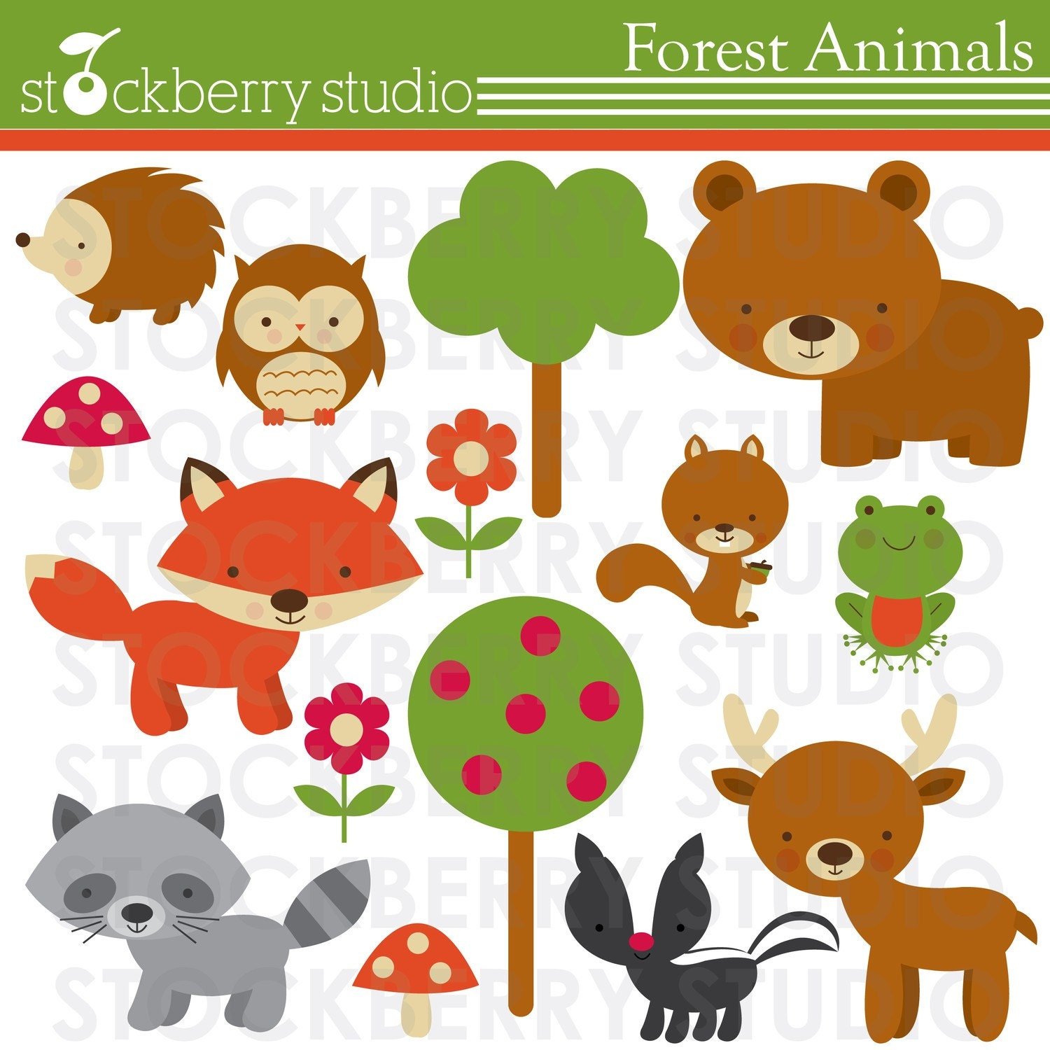 forest animals personal and commerical use by stockberrystudio forest animal clipart black and white forest animal clip art free