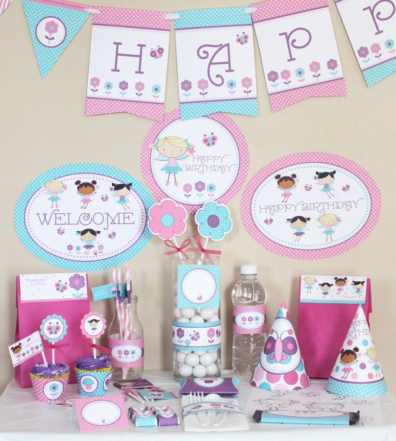 Fairy Birthday Party Decorations Printable Fairy birthday