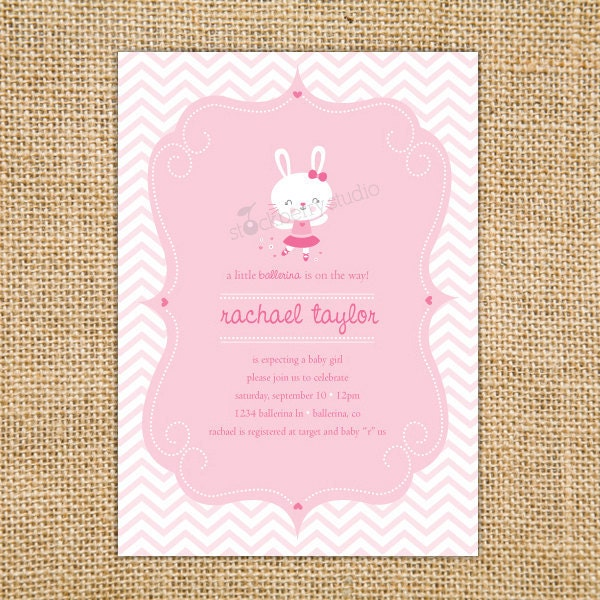 ballerina baby shower invitation printable by stockberrystudio