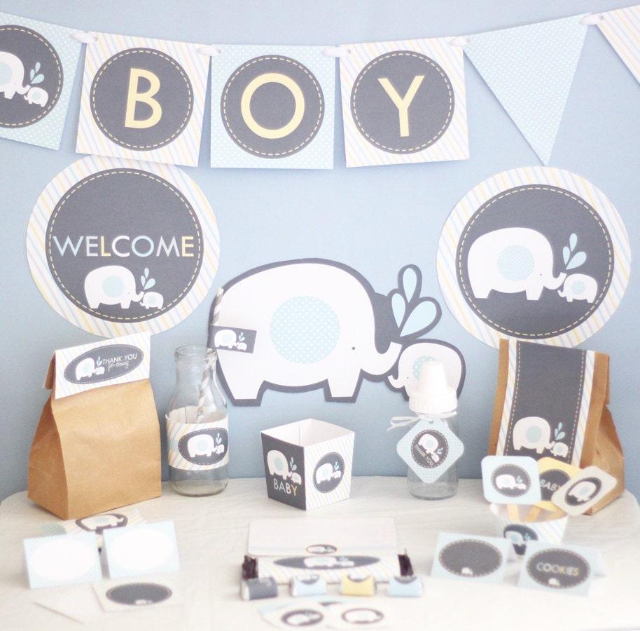 boy elephant baby shower decorations printable blue elephant