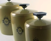 Retro West Bend Harvest Gold Metal Canister Set - Set of Three
