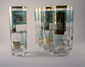 Vintage Aqua and Gold Libbey Promotional Steamboat Tumbler Glasses - Tom Collins Glasses - Set of Eight (8)