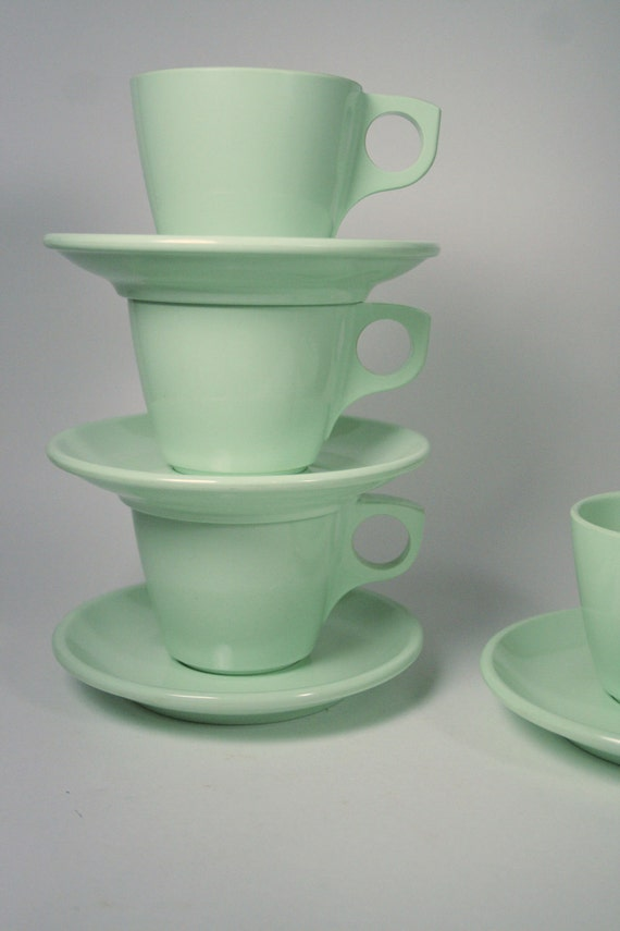 Mint Green Boonton Cups and Saucers - Eleven (11) Piece