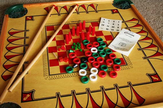 Large Vintage Double Sided Carrom Game Board With Game Pieces