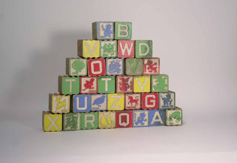 Playskool Wooden Alphabet Blocks Set Of 32 By Turtlehillshop