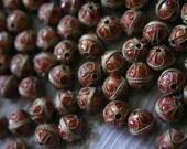 SALE Burgundy balls  - Floral Cloisonne beads (6)