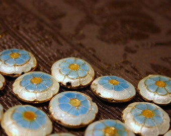 SALE Cloudy sky flowers - Floral Cloisonne beads (2)