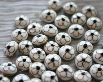 White Sakura - Floral Cloisonne beads (8)