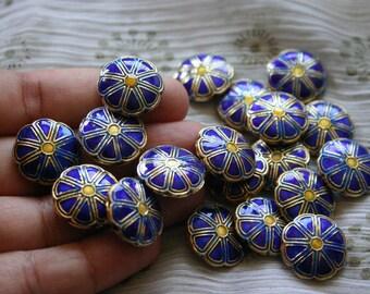 SALE Blue smiling flowers   - Floral Cloisonne beads (2)