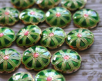 SALE Green smiling flowers   - Floral Cloisonne beads (2)