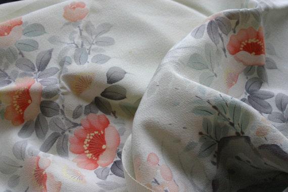 Relaxing Yume of a garden - Vintage Kimono Silk Fabric