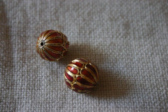 Rusty Mums  - Floral Cloisonne beads (2)