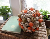 Rustic Burlap and Fabric Flower Pomander Kissing Ball Natural Orange and Cream