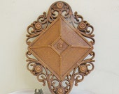Vintage Syroco Wall Plaque 1978 Ornate Diamond Shaped Faux Wicker Rattan Wood