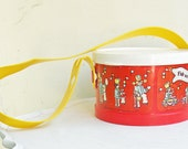 Vintage Toy Drum Fisher Price Red White with Yellow Handle Marching Band Cute Cartoon Graphics Autumn Fall