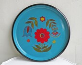 Pretty Blue and Red Painted Mid Century Floral Design Metal Tray Tole