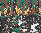 Chaos at Rest Fine Art Reproduction Print 5 x 7 Kittens Tuxedo Black Cat Textile Patterns Archival Print Green Red Black Gold