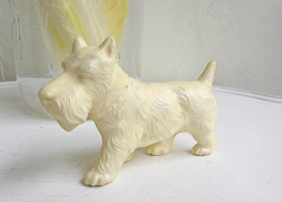 Vintage Cream Colored Scottie Dog Figurine Plastic