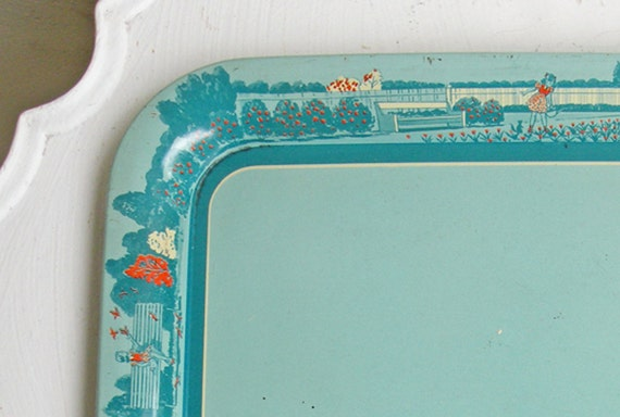 SALE Vintage Metal Serving Tray Midcentury Girl and Garden Motif Blue and Orange Christmas in July