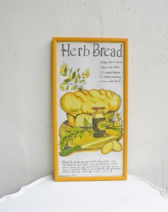 Vintage Herb Bread Framed Art Print Recipe Hand Drawn Kitchen Decor Baker Illustration 1974 Yellow Orange White