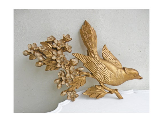 Pair Vintage Bird Plaques Gold with Cream Flowers Syroco 1967 Wall Hanging Plastic Resin