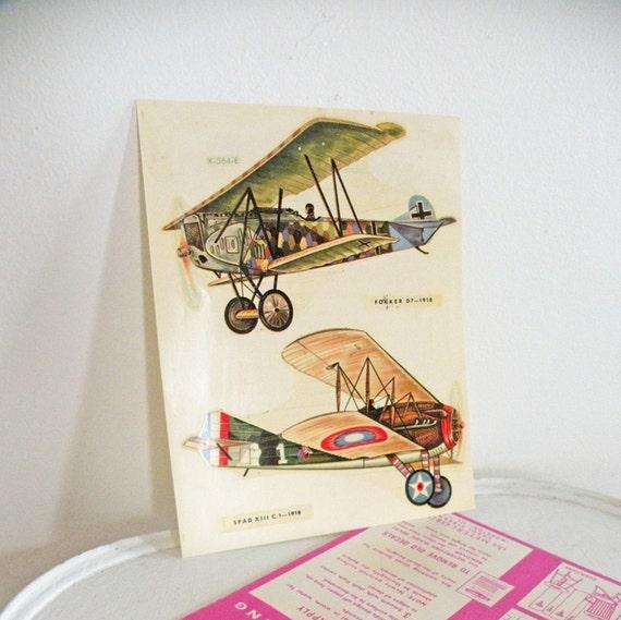 Vintage Airplane Transfer Decals Bi-Planes Fighter Plane Meyercord Decorator Graphic Illustration Decoupage Green Brown Cream