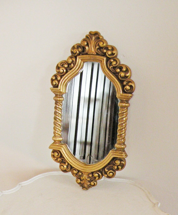 Vintage Mirror Ornate Gold Syroco 1966 Medium Size Rectangular with Columns and Scrollwork