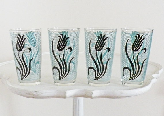 Set of 4 Vintage Drinking Glasses Mid Century Turquoise Blue Black Flower Stripe Pattern Retro Kitchen Hostess Cottage Chic