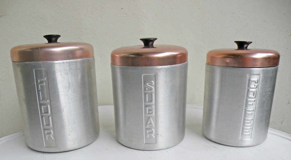 Aluminum Metal Retro Nesting Kitchen Canisters Silver and