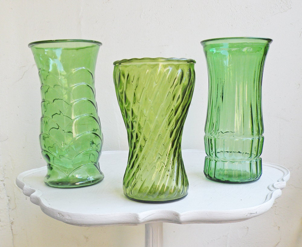 Three Vintage Green Glass Flower Vases Large Faceted By