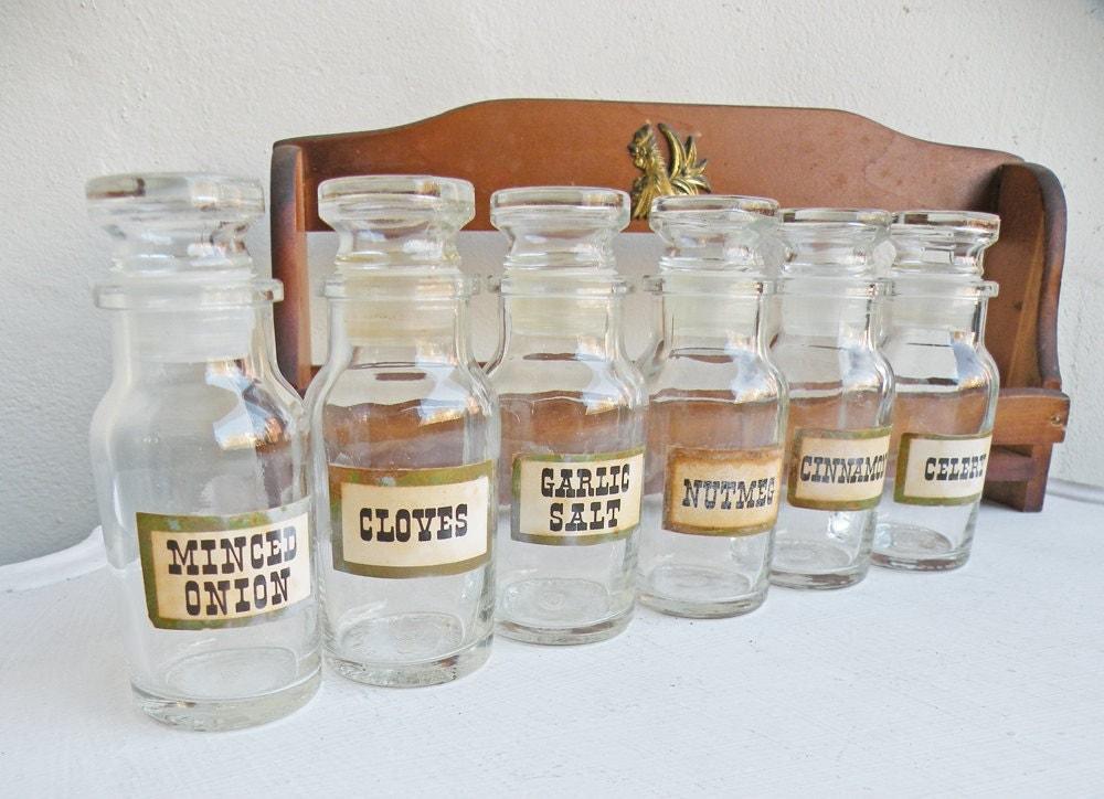 Vintage Glass Spice Bottles Six Labeled Jars Stopper Bottles