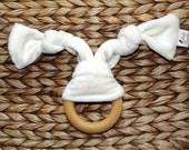PERSONALIZED Organic Teething Ring, Organic Bamboo Baby Teether