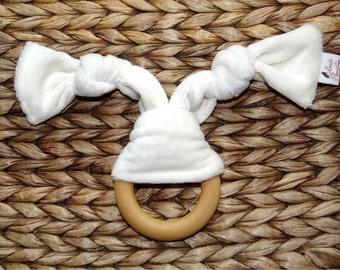 Organic Baby Teether, Wooden Teething Ring Bunny Organic Bamboo Velour
